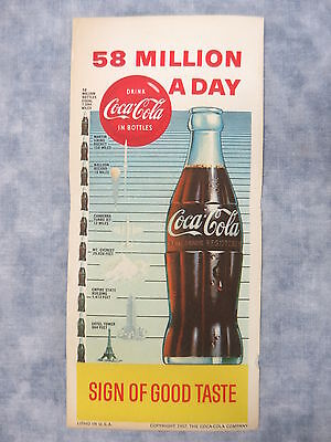 1957 58 Million A Day/Sign of Good Taste Lithograph Coca-Cola Ink Blotter Unused