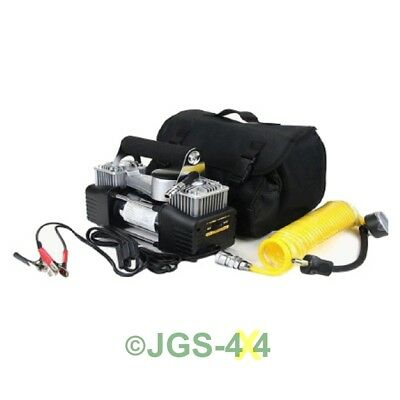 DURITE 12V Air Compressor Small Portable Twin Piston Tyre Inflator Car Truck 4x4
