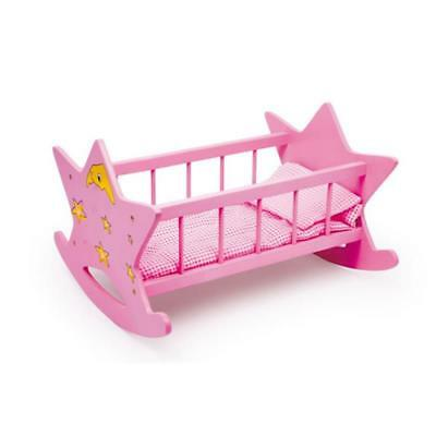 Legler Doll's cradle of wood Design Star Color Pink NEW