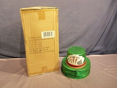 New 48 Hat Lot Green Glitter Playing Cards Poker Party Top Hat St Patricks Day