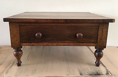 Beautiful Antique Small Low Table With Drawer Turned Legs