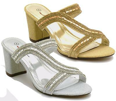 Womens Mid Heel Diamante Mules Elegant Evening Sandals Ladies Prom Bridal Shoes