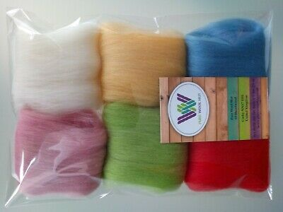 30 g Pure Wool Tops for Felting  6 colours set, Summer