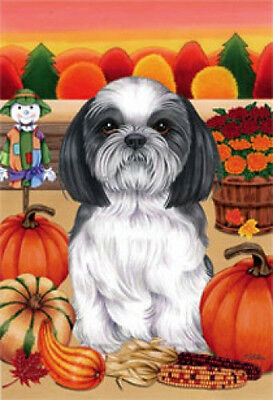 Garden Indoor/Outdoor Autumn Flag - Black & White Shih Tzu (TP) 670111