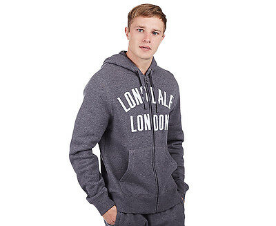 Lonsdale Men's Paxton Zip Hoodie - Charcoal Marle/White