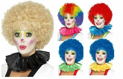 Clown Neck Ruffle Circus Costume Accessory Satin Multi Coloured Adults Fancy Dre