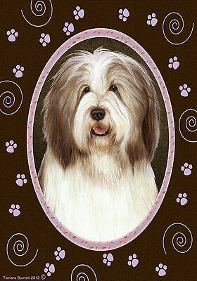 Large Indoor/Outdoor Paws Flag - Brown & White Bearded Collie 17482