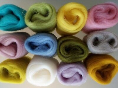 60g Pure Wool Tops for Felting 12 colours Set D