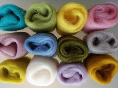 Set D* Pure Wool Tops for Felting packs of 12 colours,  60g