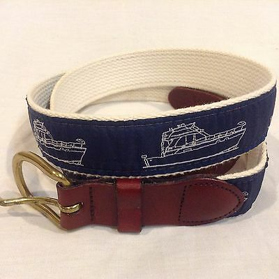 Leather Man Ltd. Yachting Belt Men's Sz 40 Power Boat Brass Buckle Essex, CT