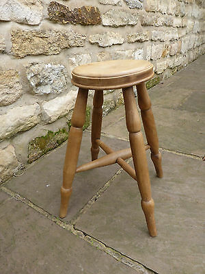 Vintage round topped stool   Beech + Ash. Turned Legs with Cross Stretchers