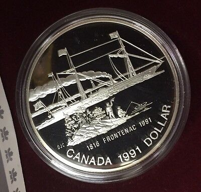 1991 Canada Proof Silver Dollar Frontenac W/ Original Packaging #2