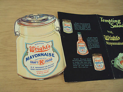 Unique ca. 1920's ADVERTISING Brochure~Tempting Salads with WRIGHT'S MAYONNAISE~