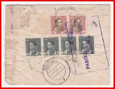 Iraq to Bahrain 1941 Cover Scarce Passed Bahrain Violet Handstamp