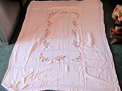 Vintage 1940 Large Hand Embroidered Tablecloth Cover w/ Flowers 46 in. x 62 in.