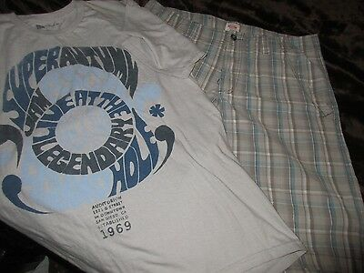 """Men's Size 36 Gray Plaid Shorts by Mossimo + Gray Size L """"1969"""" T-Shirt by Gap"""