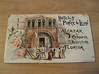 """RARE 1887 Pre Opening ADVERTISING Booklet/Drawings~""""PONCE de LEON HOTEL""""~FL~"""