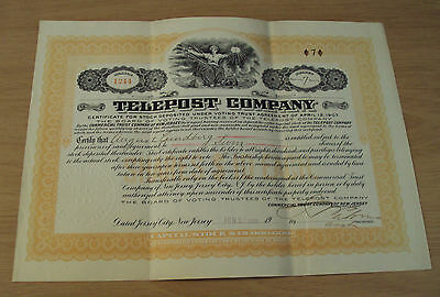 "1908 STOCK Certificate/7 Shares~""TELEPOST COMPANY""~Telephone/Telegraph~"