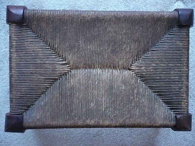 "Vintage Very Nice Rush Foot Stool, Tight Weave, 10"" X 15"", Nice Condition"