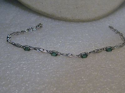"Sterling Silver Created Emerald  Bracelet, Art Deco, 7.5"", 3.5mm wide, signed CO"