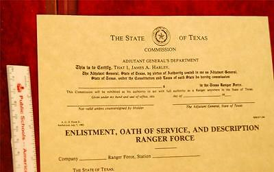 1800s to Early 1900s Texas Ranger Oath of Office See Pix