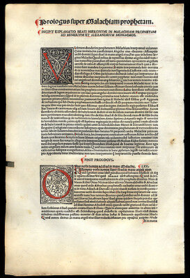 1498 Incunable Leaf St Jerome's Biblical Commentary 2 Large Historiated Letters