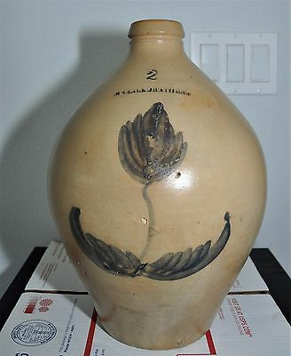 2 G Antique Sale Glazed Ovoid Stoneware Jug N Clark Jr Athens (NY)