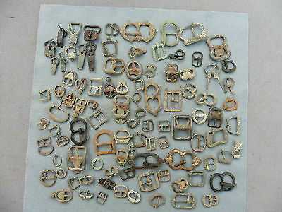Collection Of 94 Medieval & Post Medieval Bronze Buckles Complete With Pins