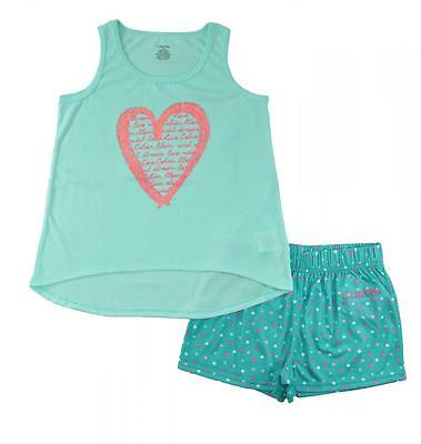 Calvin Klein Girls 2Pc Green Short Pajama Set Size 5/6 7/8 10/12 14/16