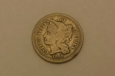 1865 3 cent silver nickel NICE DETAILS NO RESERVE!!