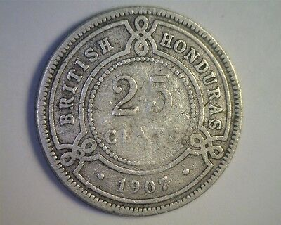 1907 British Honduras Silver 25 Cent Coin from an estate