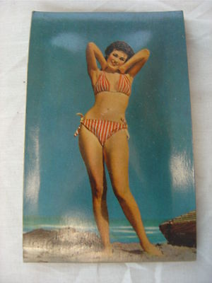 Vintage 1950s Postcard Squeaky Pin Up Girl Striped Bikini 761002