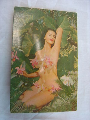 Vintage 1950s Postcard Squeaky Pin Up Girl w/ Beautiful Flowers 761006