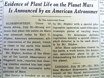 1939 NY Times newspaper US ASTRONOMER discovers PLANT LIFE on the planet MARS !
