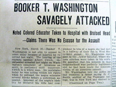 1911 newspaper Negro leader BOOKER T WASHINGTON attacked by White Man in NY City