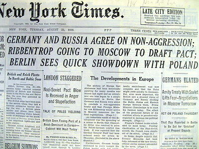 1939 NY Times newspaper GERMAN-SOVIET NON AGGRESSION PACT leads to WW II START