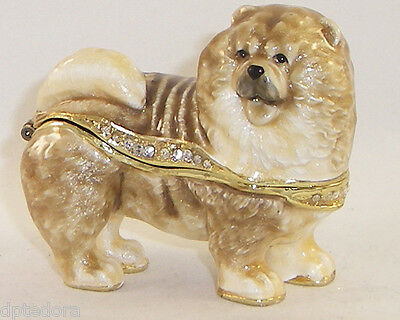 Kingspoint Champion Chow Chow Dog Pewter Bejeweled Hinged Trinket / Jewelry  Box