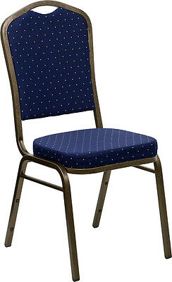 Lot 40 Navy Dot Patterned Fabric Crown Back Steel Frame Banquet Stack Chairs