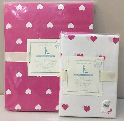 NIP 2P Pottery Barn Kids Bright Pink HEART Toddler Duvet Cover & Pillowcase Set