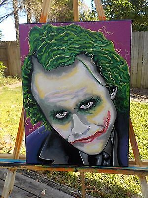 Heath Ledger The Joker Hand Painted acrylic on Canvas Popartrazzia signed popart