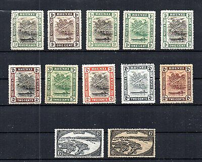 British Brunei 1907-1937 Selection Of 12 Type I And Type Ii Stamps. Unused.