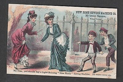 Victorian Trade Card New Home Sewing Machine New York  Meriden Connecticut