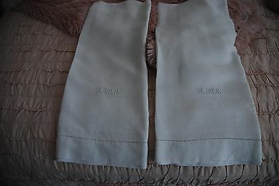 2 Antique French Linen Lg Towels 3 Letter Monogram