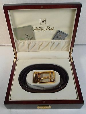 VALENTINO RUDY *MEN'S BELT & BUCKLE w/WOOD BOX SET* SIZE 42