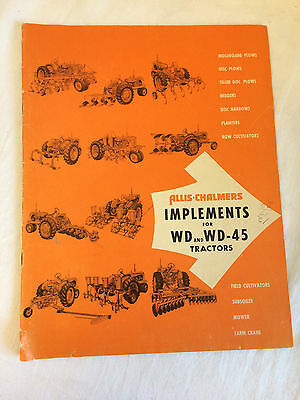 RARE 1940s Vintage ALLIS CHALMERS TRACTOR Implements WD WD-45 Old Color Brochure
