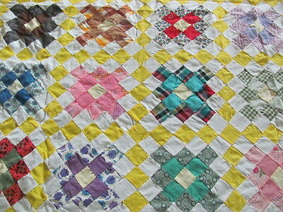 Vintage hand stitched Checkerboard Cobblestone cotton quilt top sunny yellow