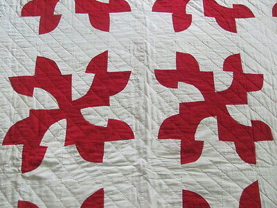 Vintage red and white Drunkard's Path quilt finely hand quilted from estate