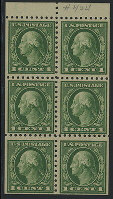 US 424d booklet pane of 6 - mnh 1 cent Washington
