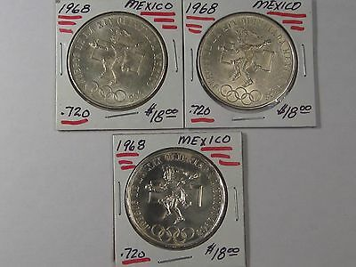 Three 1968 Mexican 25 Peso Coins: Olympic Dancer (.720 Fine Silver). Mexico.  #6