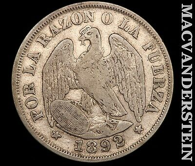 1892 Chile 20 Centavo- Silver !! Better Date !! #r3588